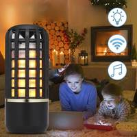 CLAITE Portable Wireless bluetooth Stereo Speaker Rechargeable Flame Effect Night Light for Indoor Outdoor