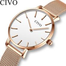 CIVO New Fashion Ladies Watch Luxury Women Watches Ultra Thin Waterproof Stainless Steel Quartz Wristwatch Clock