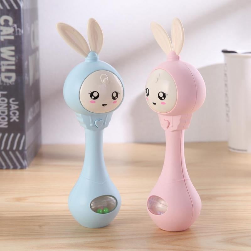 Baby Hand Bells Rattles Puzzle Music Sound Light Shaking Toys For 0-12M Newborn Infant Early Educational Toy Cute Cartoon Rabbit