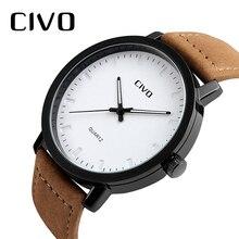 CIVO Analogue Quartz Wrist Watch Men Waterproof Browm Genuine Leather Strap Watches For Clock Relogio Masculino