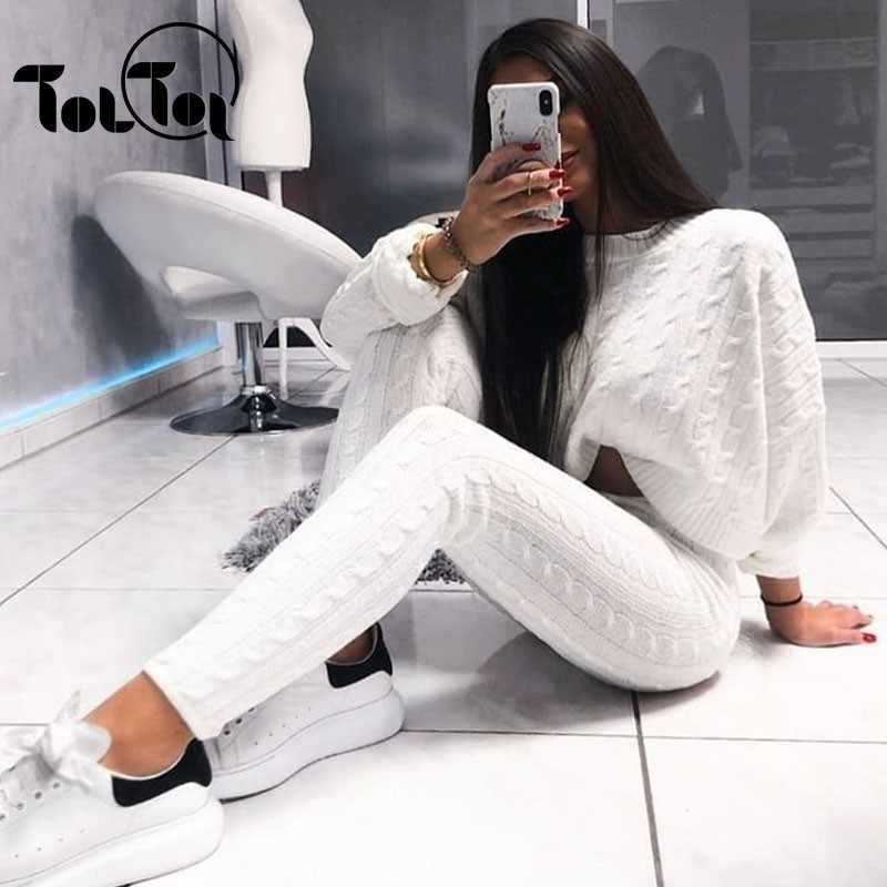 Sexy Two Piece Knitted Suits Solid Street  Long Sleeve Sweater And Solid Pants  Winter Autumn 2 Piece Suit Women Outfits  2019