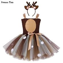 Платье пачка с коричневым оленем для девочек; Костюм для костюмированной вечеринки на Хэллоуин, Рождество, олень; Детские платья пачки для девочек; Вечерние платья для дня рождения