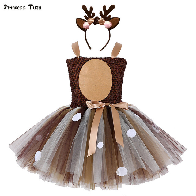Brown Deer Girls Tutu Dress Halloween Christmas Cosplay Elk Deer Costume Kids Tutu Dresses for Girls Child Birthday Party Dress