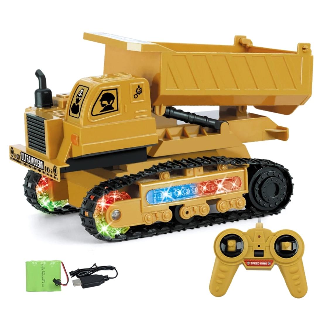 1:24 2.4G LED RC Engineer Vehicle Construction Truck Remote Control Toy Car Dump Truck Dumper Bulldozer Pushdozer  Model Car