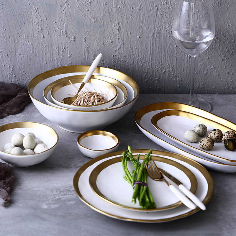 Gold plate Ceramic Tableware Originality Solid Color Dish Bowl Breakfast Household Plate