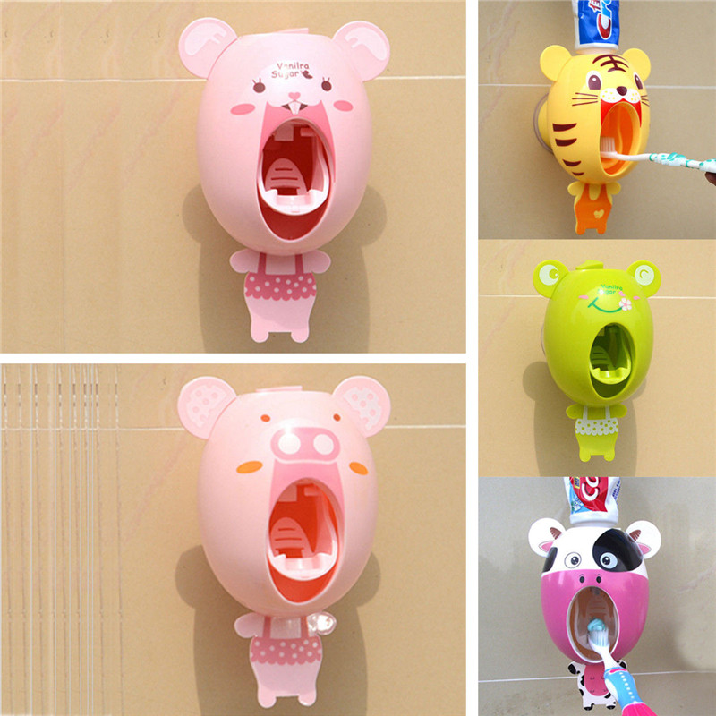Auto Toothpaste Dispenser Device Easy Squeeze Wall Mount Cute Cartoon Animals Kids Gift Bathroom Products Home Decor