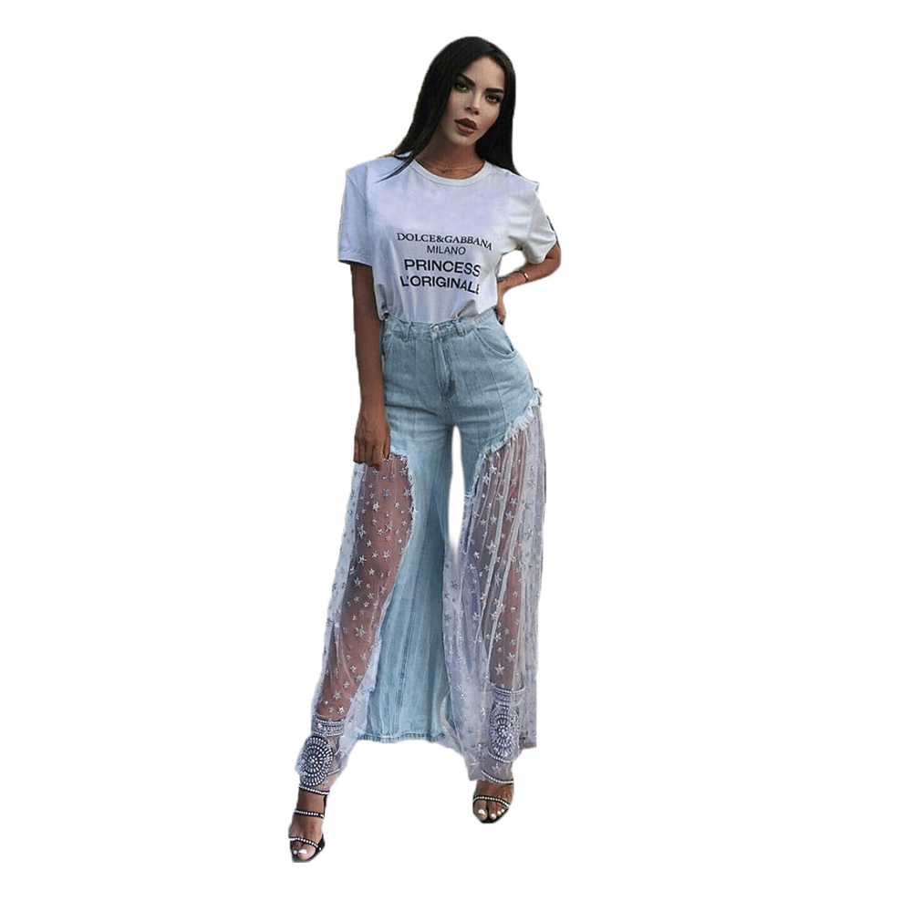 Jeans   Women Sexy New Trousers Personality Stitching Five Pointed Star Mesh Splice Raw   Jeans   Stars Wide Leg Pants Femme