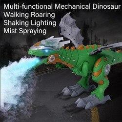 Grande tamanho brinquedo elétrico andando spray dinossauro robô com som claro dinossauros mecânicos modelo brinquedos design fantástico