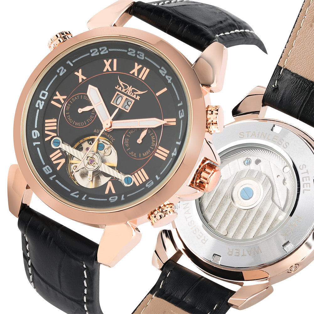 Mens Watches Dual-time Automatic-self-winding  Leather Band Mechanical Watches with Calendar Date Male Gifts Business ClockMens Watches Dual-time Automatic-self-winding  Leather Band Mechanical Watches with Calendar Date Male Gifts Business Clock