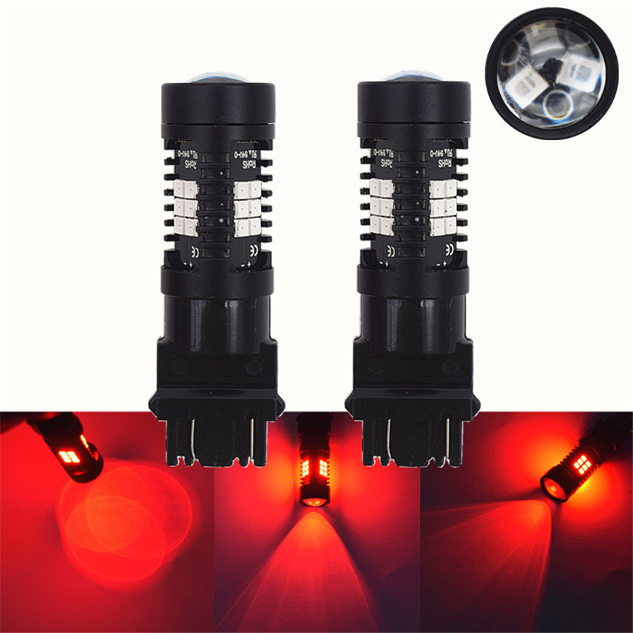 1 Pair 3157 Red Stop Brake Flash Strobe Blinking Rear Alert Safety 21 LED Light Bulbs Brake Tail Stop Lights in Car Light Accessories from Automobiles Motorcycles