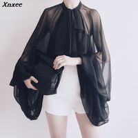 Xnxee Bowknot Chiffon Blouse Shirt Women Lantern Sleeve Tulle Transparent Sexy Tops Large Size 2019 Spring Summer Casual