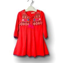 Платье для девочек с длинными рукавами; сезон осень-зима; платья для девочек; Рождественская одежда; ; партия одежды; детские костюмы из хлопка с вышивкой
