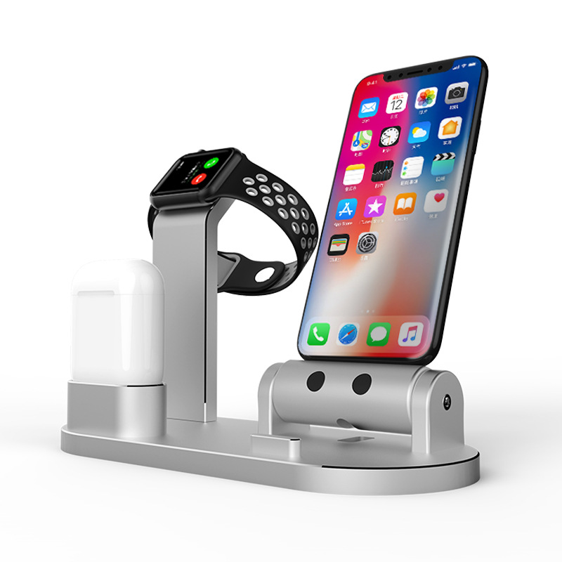 For Apple Watch Changing Stand Aluminum 4 in 1 iWatch Charging Docks Phone Charging Station for Apple Watch Series 3/ 2/ 1/ Ai
