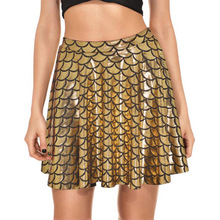 YJSFG HOUSE Womens Ball Gown Skirts Shiny High Waist Skater Flared Ladies Fashion Fish Scale Short Pleated Mini Mermaid Skirt