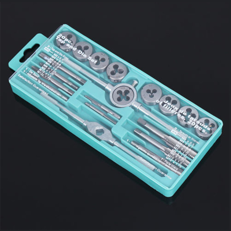 20pcs Alloy Steel Tap Die Set 1/16 - 1/2 Inch NC Screw Thread Plugs Taps Wrench Hand Screw Taps Cutting Adjusting Tools