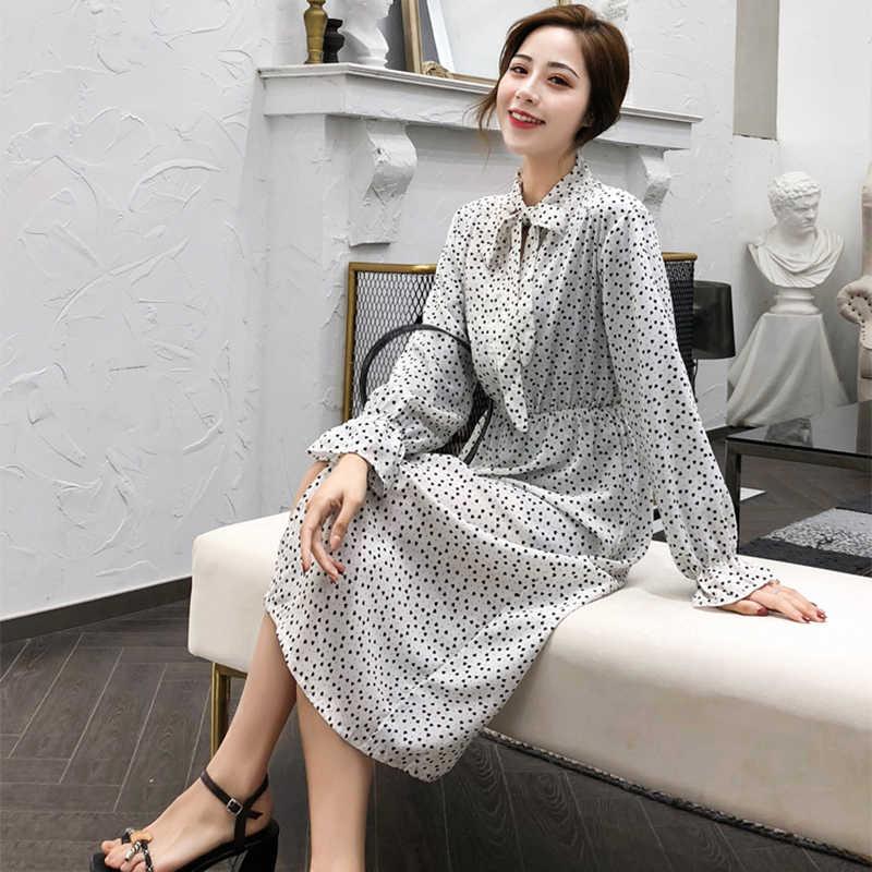 Été mousseline de soie femmes imprimer Dot robe mi-mollet coréen décontracté à manches longues Vintage dames robe bouton arc col femme vêtements