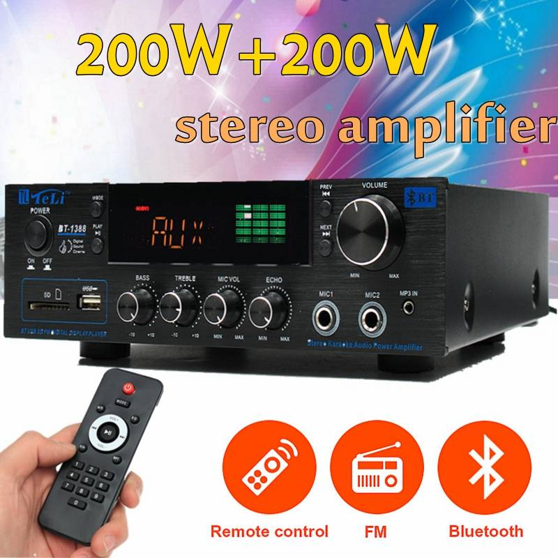Mic-Input Amplifier Hifi Remote-Control Bluetooth 1388 Power Stereo Aux SD USB 220V-240V