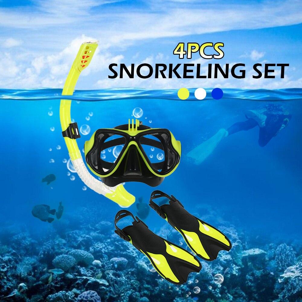 Anti-brouillard Lunettes de Plongée Combo Set Lunettes Masque Tuba Tube Ailettes avec sac de vitesse pour homme femme De Natation Plongée sous-marine Voyage