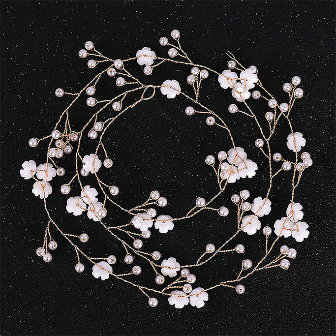Ladies Delicate Elegant Hair Accessories Bridal Wedding Simulation Pearl  Headpieces Women Fashion Flower Hair Vines Headdress(China)