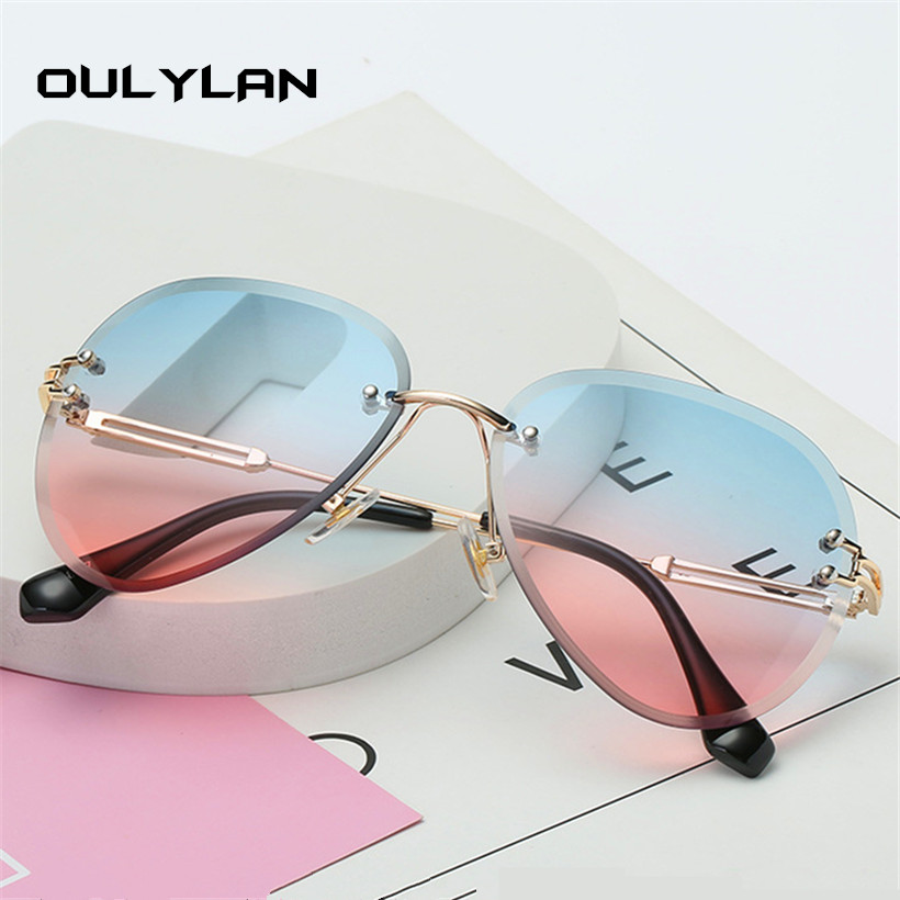 Oulylan Rimless Sunglasses Shades Gradient Designer Women Brand UV400 Cutting-Lens Metal