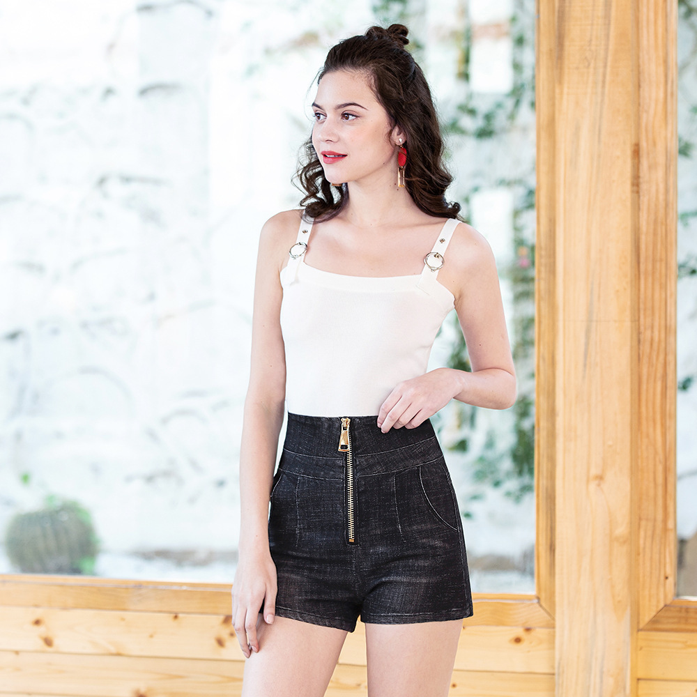 New Arrival Casual Summer Zipper Denim Women Slim Cowboy Shorts High Waists Sexy Short Jeans Black Blue Plus Size 4XL