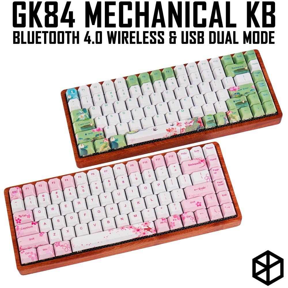 gk84 Mechanical keyboard 75 dye sub keycap wooden custom light rgb ink paintingsakura lotus bluetooth 4