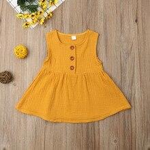 0-3 лет летняя детская одежда для малышей для девочек блузка без рукавов хлопок Повседневное Топ И пуговицы Повседневное Ptincess одежда
