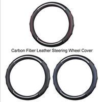 Leather Carbon Fiber Steering Wheel Cover Car Leather Handles Sewing Car Gloves Leather Steering Wheel Sleeve Handlebar Grip