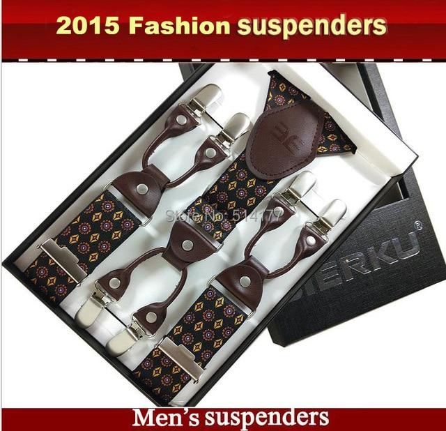 2019 Fashion Mens suspenders Genuine leather Jacquard mens trouser braces 6 clips adult suspensorio tirantes hombre bretelles