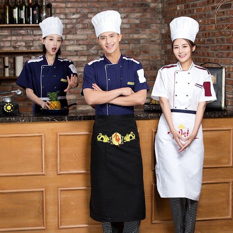 Chef Uniforms Clothing Summer Short Sleeve Chef Service Hotel Restaurant Kitchen Clothes 4 Color Uniform Chef Jackets Women Men