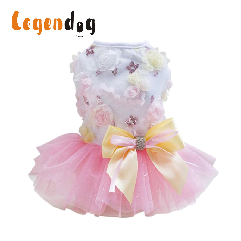 Spring And Summer Dog Tutu Dress Pet Dog Clothes Wedding Dress Skirt Puppy Clothing Pet Clothing Accessories Chihuahua Yorkie in Dog Dresses from Home Garden