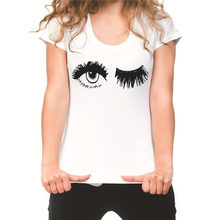 Pretty and cute Eye Lashes Print Women t shirt Summer Casual Short Sleeve O Neck t-shirt Ladies White TShirt Tops