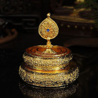 Tibetan Buddhism Manza Manla Copper Gilt Eight Auspicious Symbols Tray