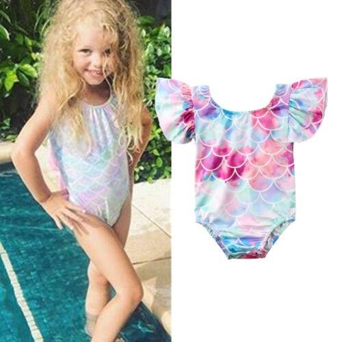 Kid Baby Girl Ruffle Mermaid Swimsuit Swimwear Bikini Rainbow Short Sleeve Beachwear One- Pieces Clothes