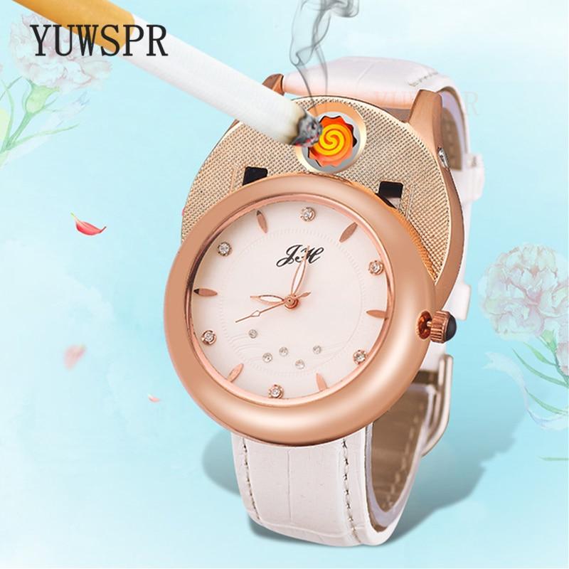 Women Watch Quartz Watches Cigarette Lighter USB Charging Windproof Creative Environmental Women Clock JH-366