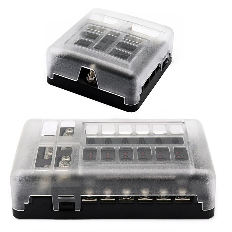 Universal DC 12-32V Truck Coach Boat Bus Bar Power Distribution Block Double Busbars 6-way12-way Fuse Box With LED Lights