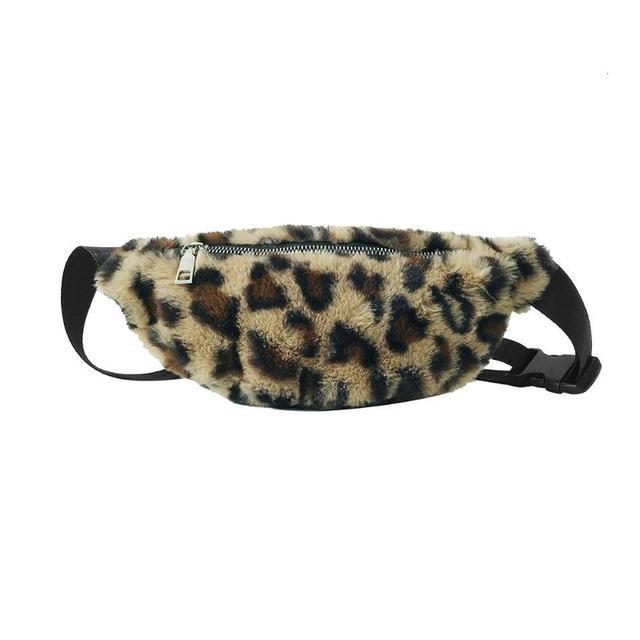 Women Leopard Print Chest bag Fashion Fleece Messenger Bag for Girls Money Phone Pouch Brown Beige Female Bag Chest Pack Wallet