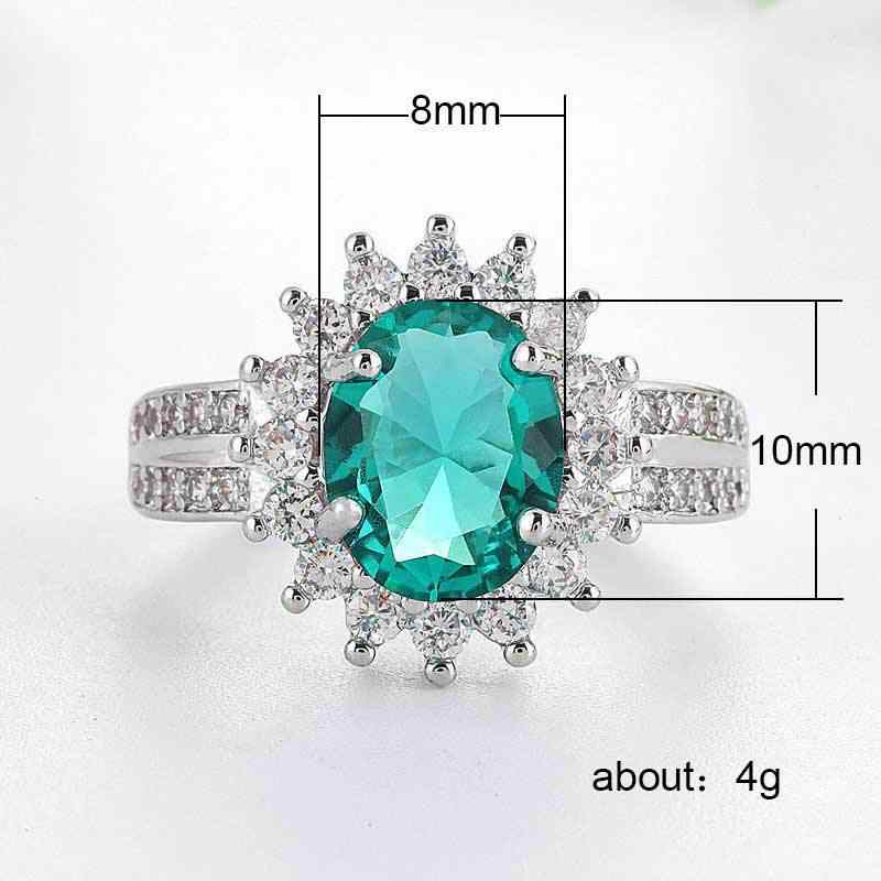 Huitan Wedding Anniversary Ring Flower Shaped Wedding Band With Green CZ Prong Setting Luxury Birthday Gift For Girlfriend
