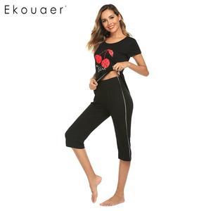 Image 4 - Ekouaer 女性ナイトウェアパジャマセット O ネック半袖プリントトップハーフパンツ夏パジャマスーツ女性ホームウェアの服