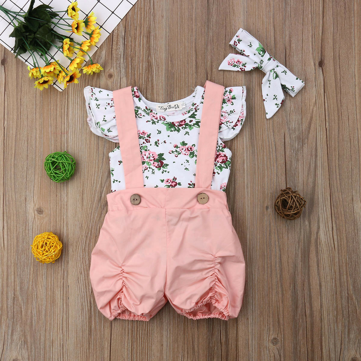 Summer Casual Newborn Kids Infant Baby Girl Foral Ruffled Romper Sleeveless Floral Jumpsuit Outfit Clothes