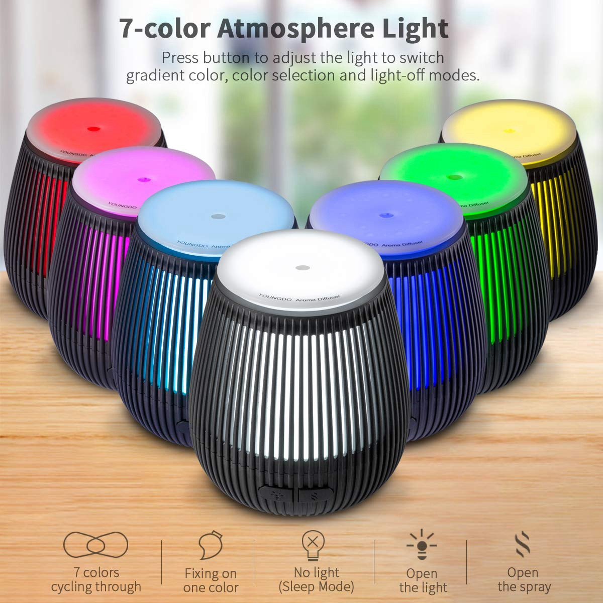 Essential Oil Diffuser, Ultrasonic Aroma Cool Mist Humidifier With Adjustable Mist Mode, Waterless Auto Shut-Off And 7 Color L