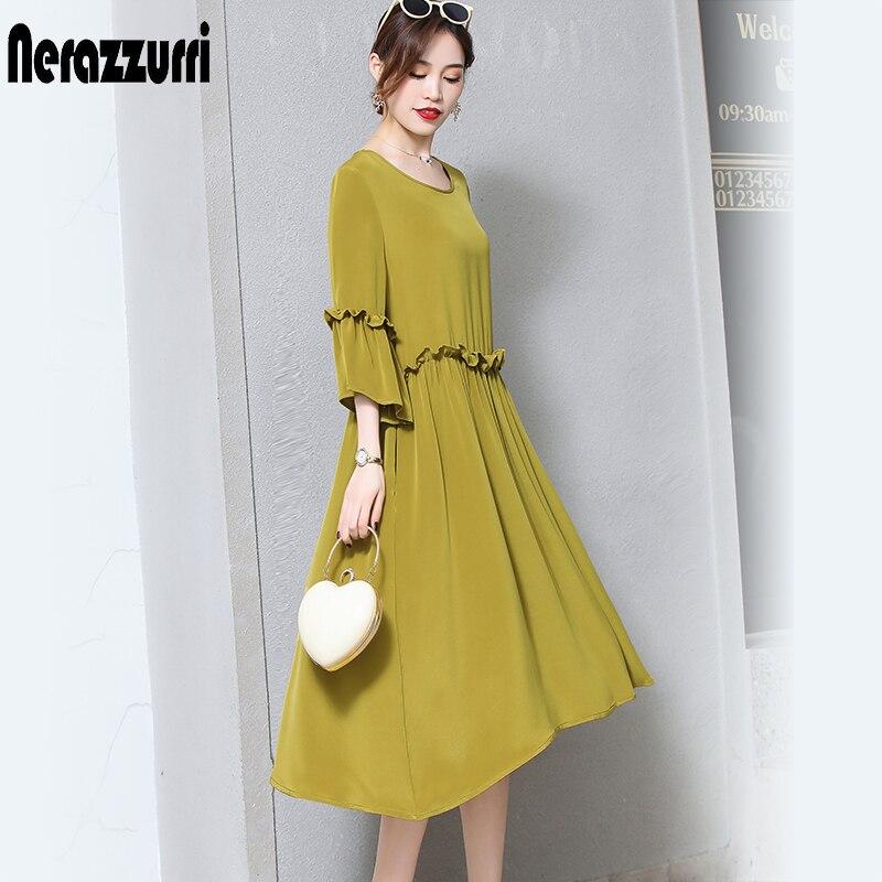 Diplomatisch Nerazzurri Reiner Seide Kleider Frauen Natürliche Seide 2019 Elegante Hohe Qualität Plus Größe Kleid 5xl 6xl 7xl Lange Plissee Sommer Kleid