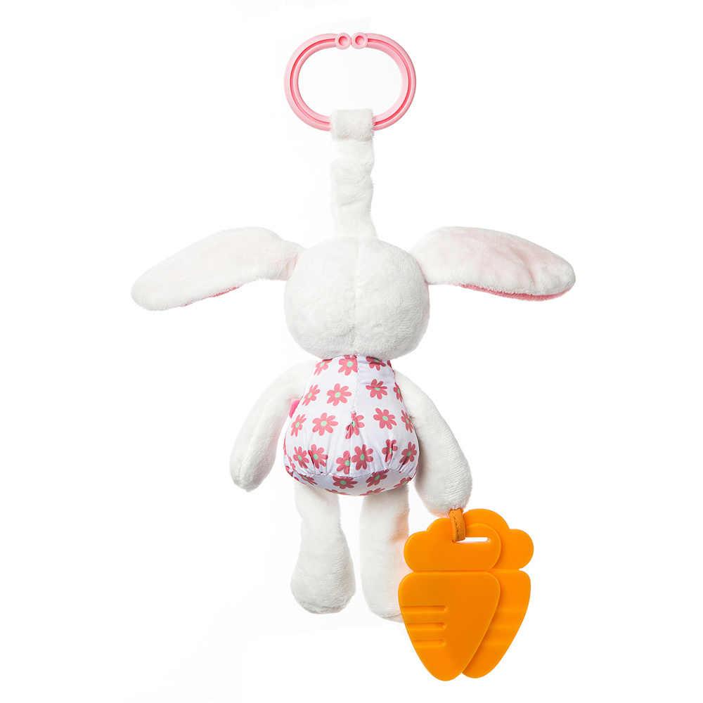 Детские мягкие игрушки, развивающий белый кролик с морковкой, Игрушка-прорезыватель