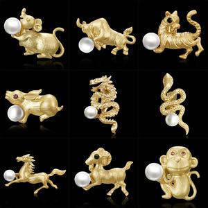 RINHOO Brand Gold Color Plated Simulated Pearl Grape Brooch Pins for Women or Wedding Decorating Zodiac brooch  symbolic animals