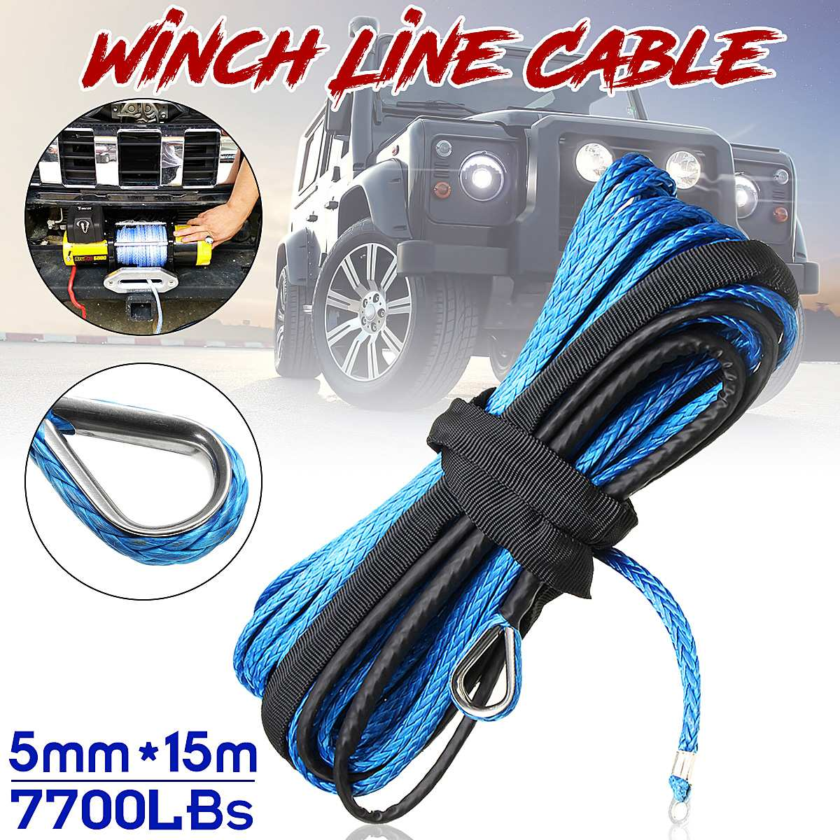 5MM X15M 7700LBs Synthetic Winch Line Cable Rope With Sheath ATV UTV Blue