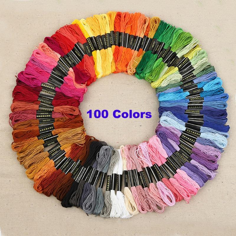 100 colores de poliéster de hilo de bordado a mano Cruz puntada hilo de coser madejas de bricolaje accesorios hechos a mano de tejer herramientas artesanales