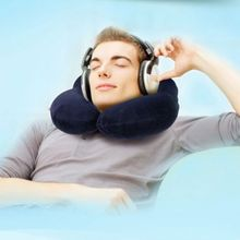 HOT U Inflatable Shape Pillow Neck Head Rest Air Soft Cushion for Travel Plane