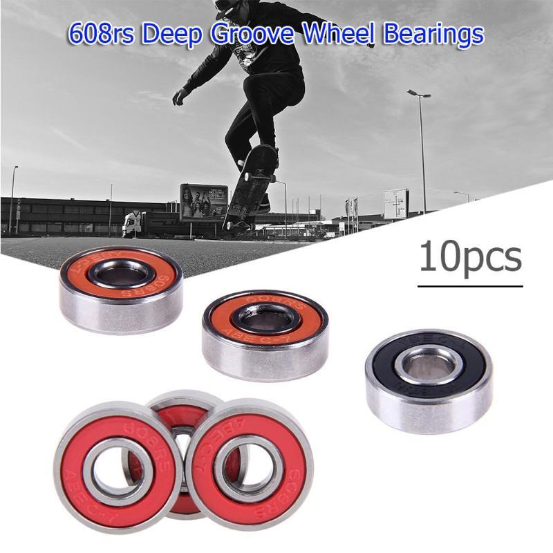 10 stks 608rs Diepe Groef Staal Wiellagers Skateboard Stunt Sliding Scooter Quad Inline Skate Speelgoed Auto Assen Rood/ zwart/Oranje