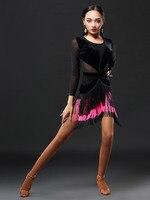 2019 New Brand 1 Colors Latin Dance Skirt Women Sleeve Tango Rumba Flamengo Ballroom Dance Dress For Women Costume A3153