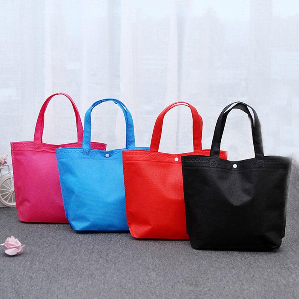 2019 New Customizable Wholesale Foldable Button Shopping Bag Reusable Tote Pouch Women Men Fashion Colorful Travel Handbag